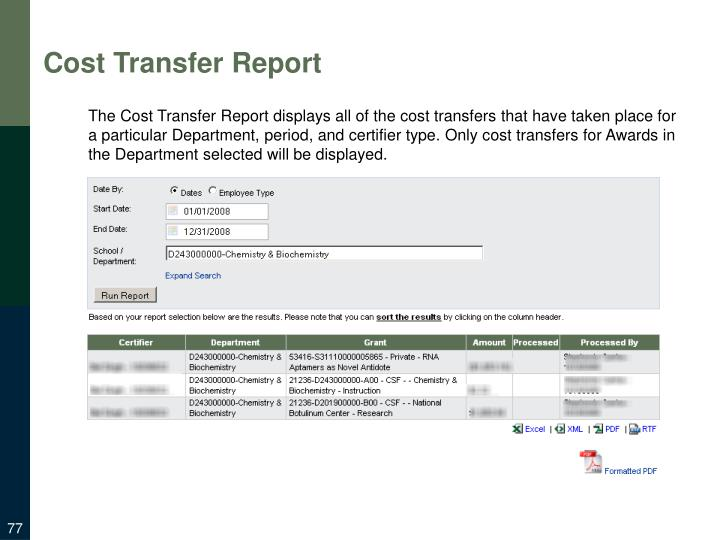 Cost Transfer Report