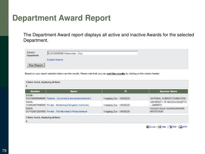 Department Award Report