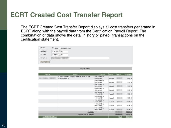 ECRT Created Cost Transfer Report