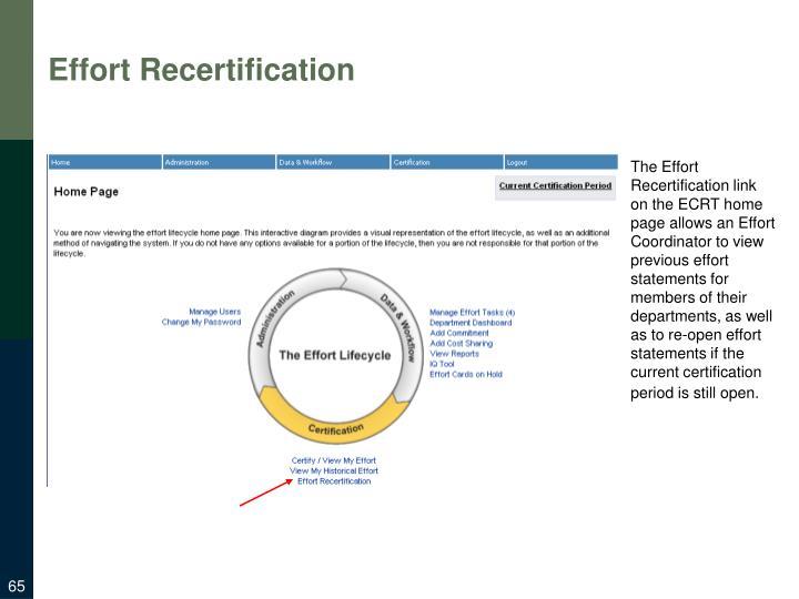 Effort Recertification