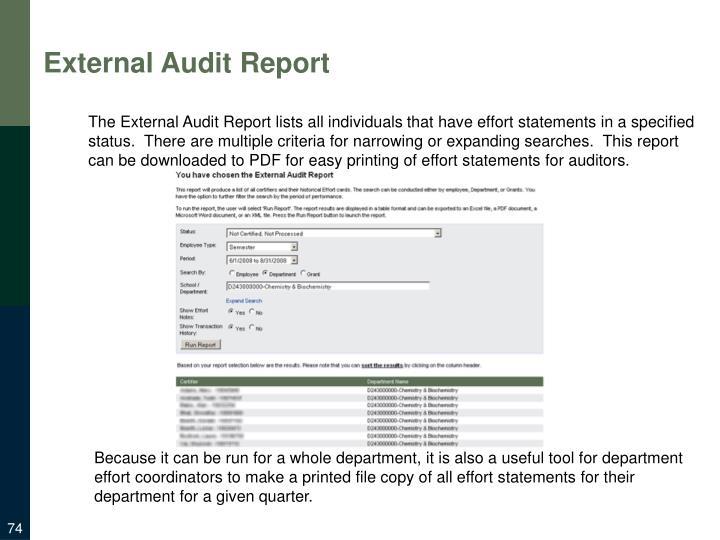 External Audit Report