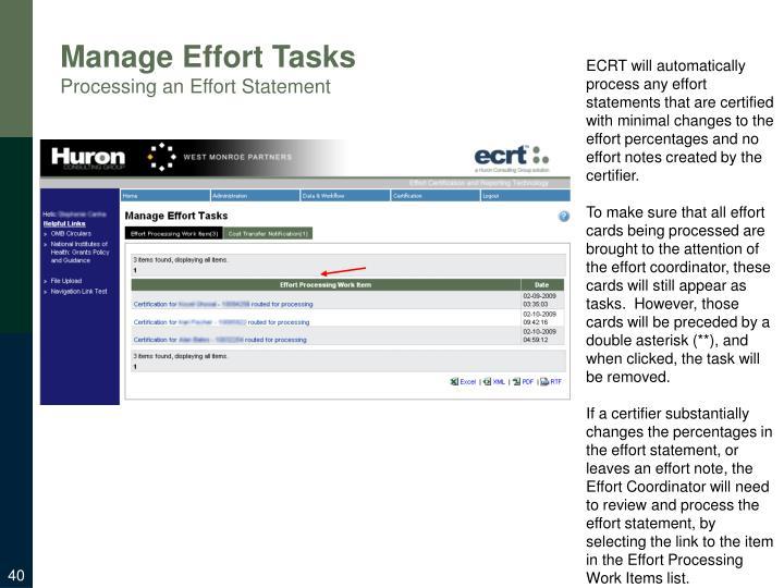 Manage Effort Tasks