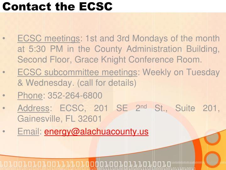 Contact the ECSC