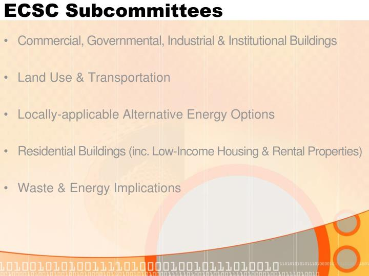 ECSC Subcommittees