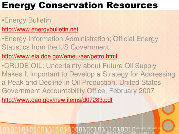 Energy Conservation Resources