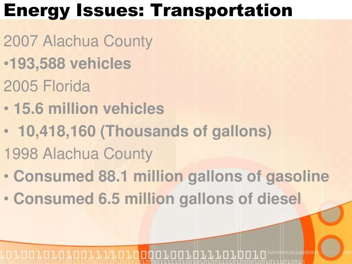 Energy Issues: Transportation