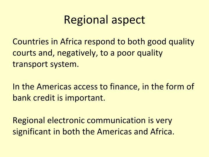Regional aspect
