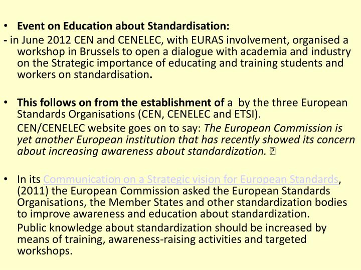 Event on Education about Standardisation: