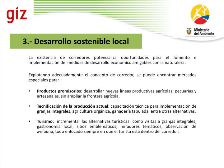 3.- Desarrollo sostenible local