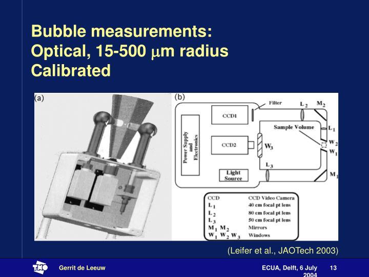 Bubble measurements:
