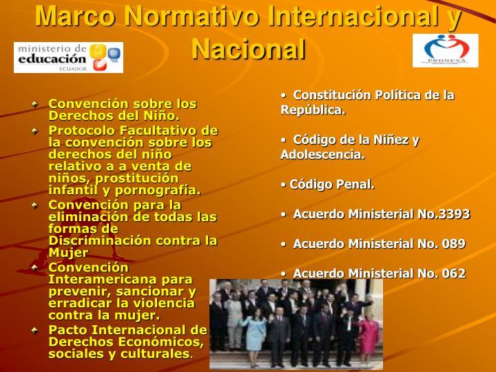 Marco Normativo Internacional y Nacional