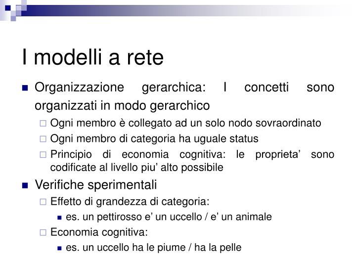 I modelli a rete