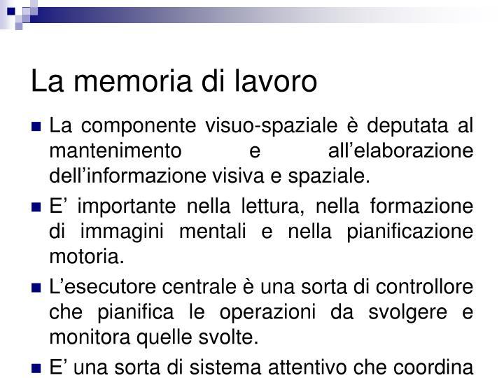 La memoria di lavoro