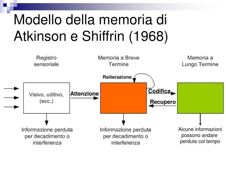 Modello della memoria di Atkinson e Shiffrin (1968)