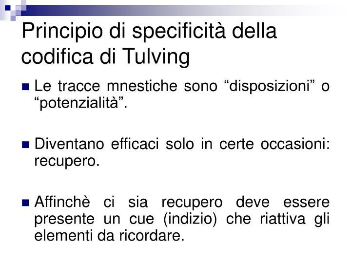 Principio di specificità della codifica di Tulving