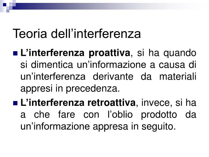 Teoria dell'interferenza
