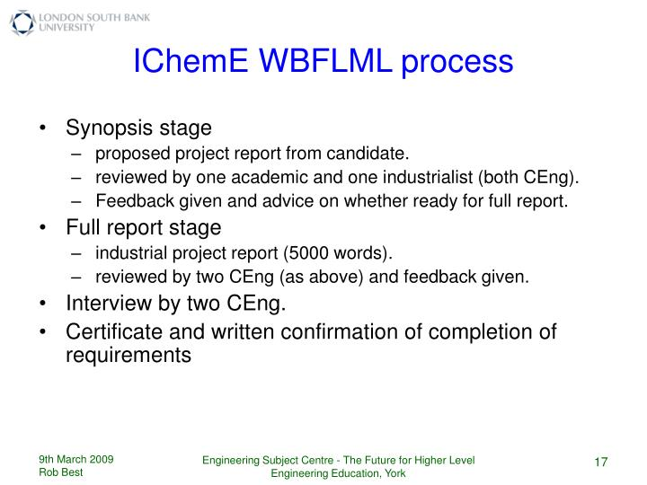 IChemE WBFLML process
