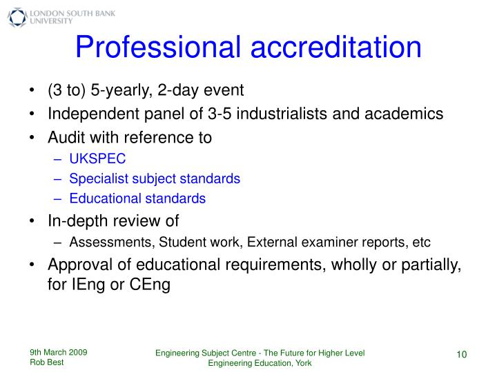 Professional accreditation