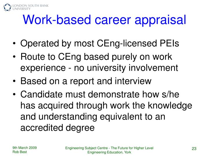 Work-based career appraisal