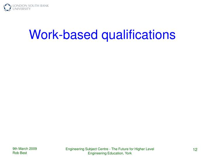 Work-based qualifications