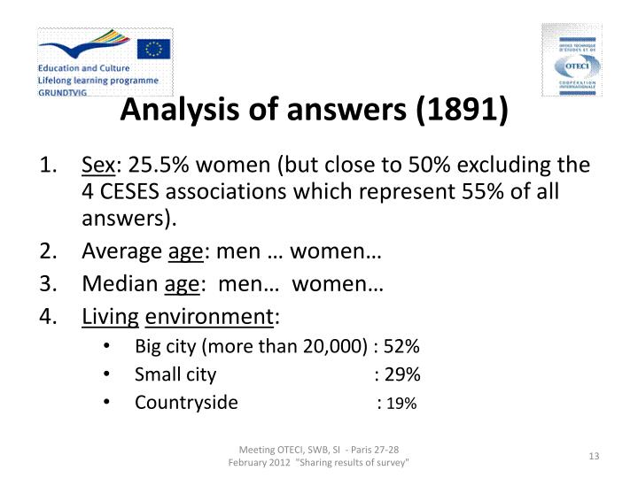Analysis of answers (1891)