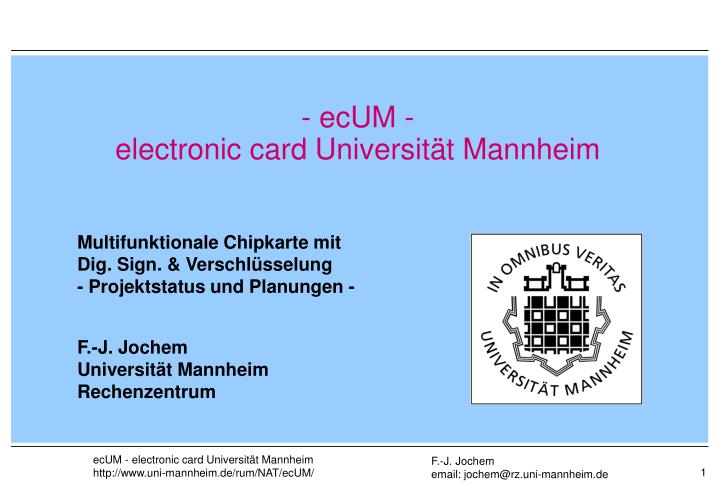 Ecum electronic card universit t mannheim