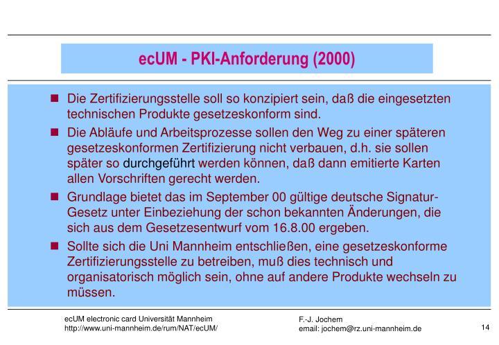 Die Zertifizierungsstelle soll so konzipiert sein, daß die eingesetzten technischen Produkte gesetzeskonform sind.