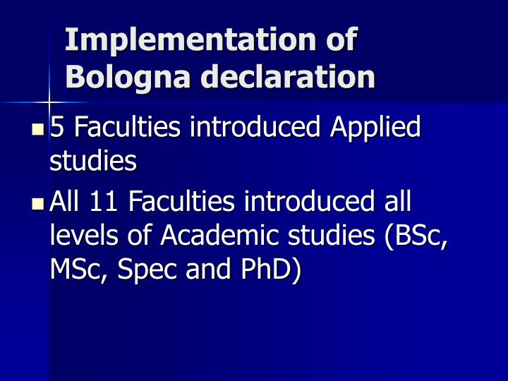 Implementation of bologna declaration