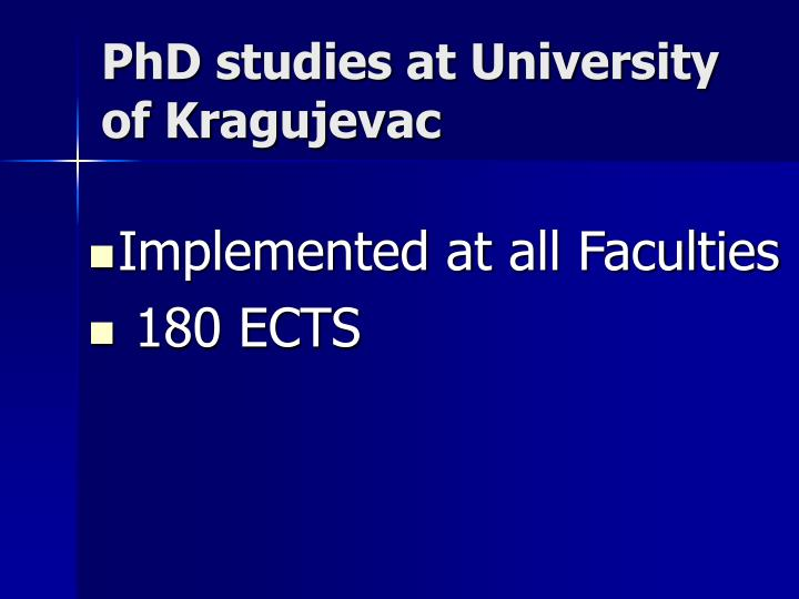 PhD studies at University of Kragujevac