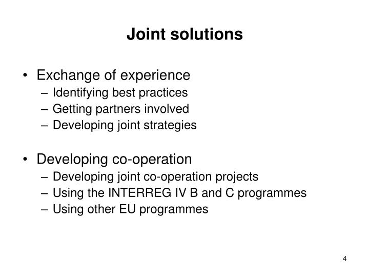 Joint solutions