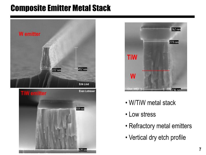 Composite Emitter Metal Stack
