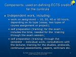components used on defining ects credits for the curricula1