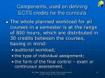 components used on defining ects credits for the curricula2