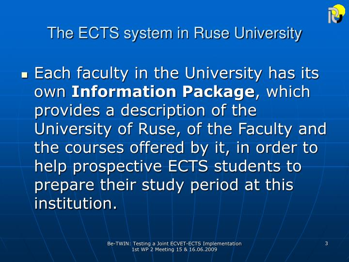 T he ects system in ruse university