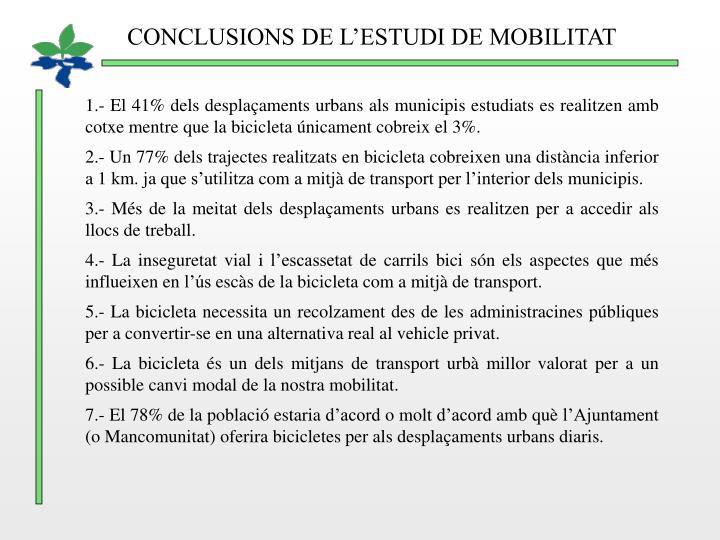CONCLUSIONS DE L'ESTUDI DE MOBILITAT
