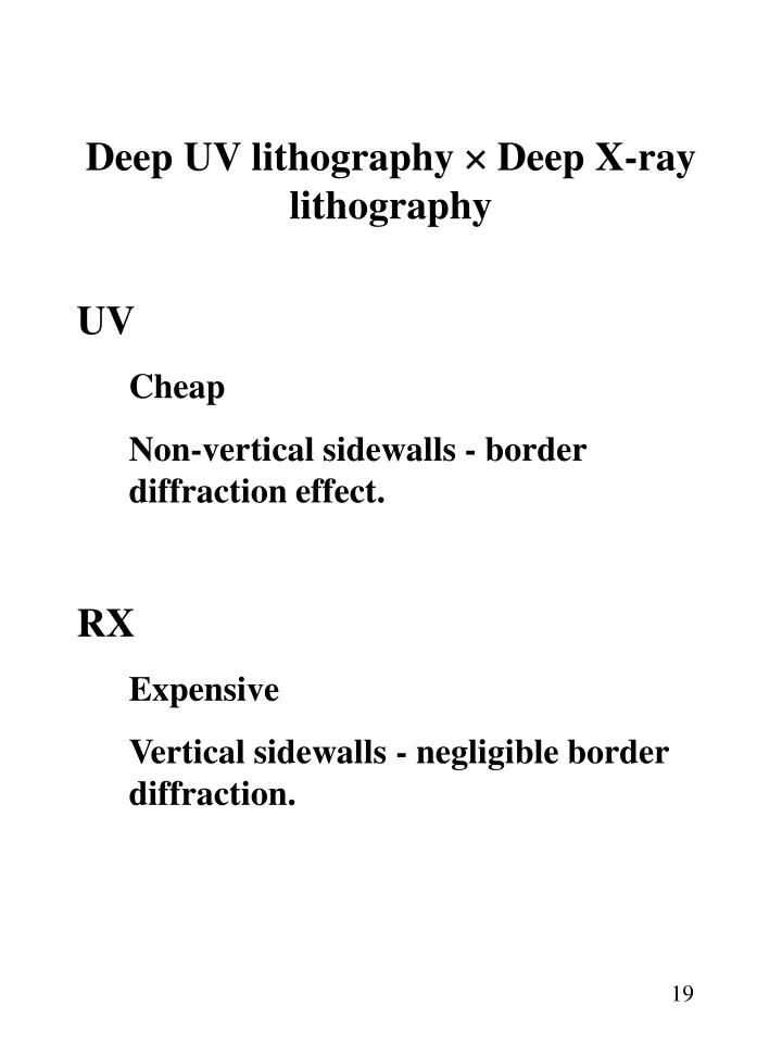 Deep UV lithography