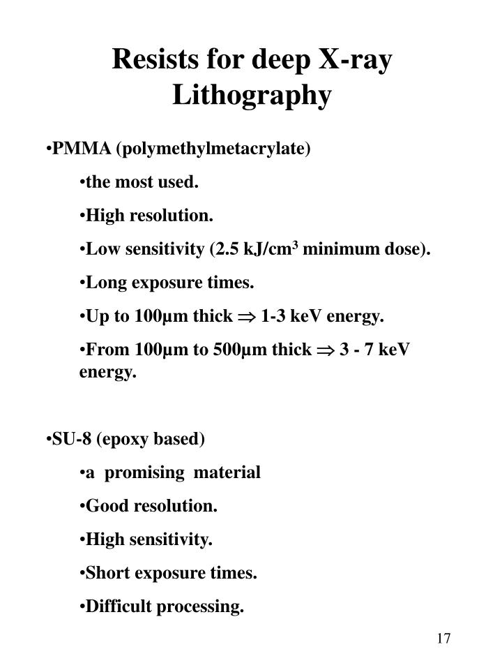 Resists for deep X-ray Lithography