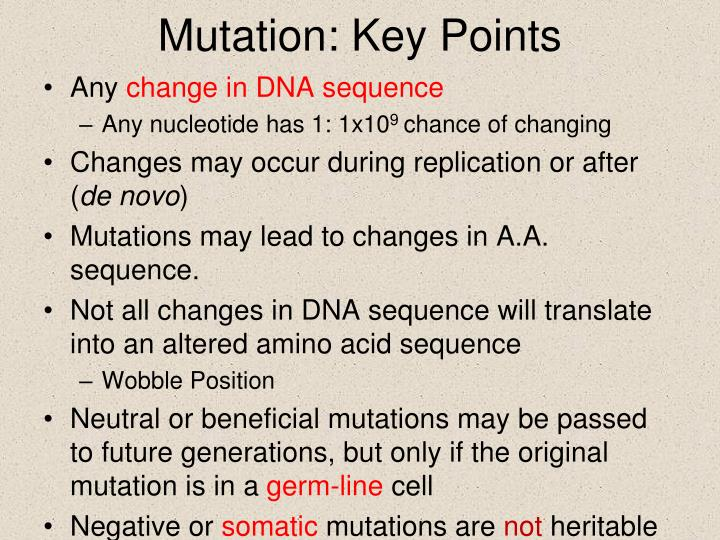 Mutation: Key Points