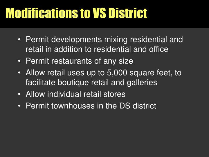 Permit developments mixing residential and retail in addition to residential and office