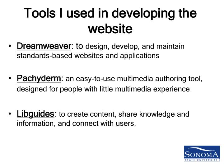 Tools I used in developing the website
