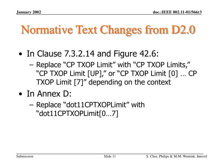 Normative Text Changes from D2.0