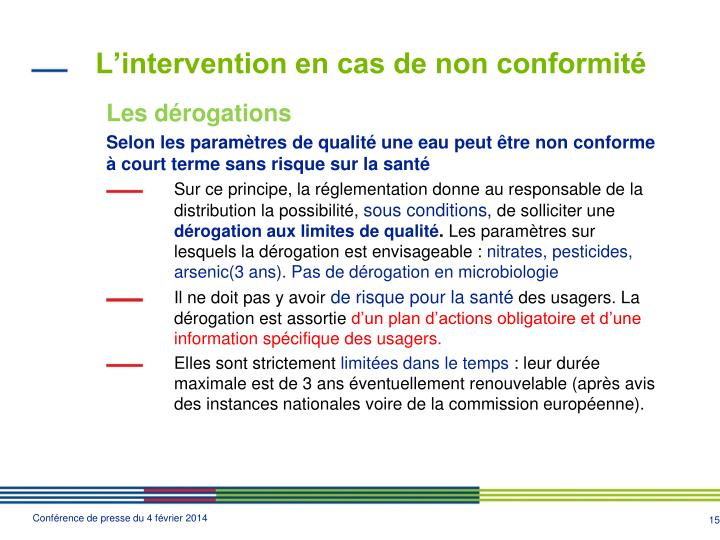 L'intervention en cas de non conformité