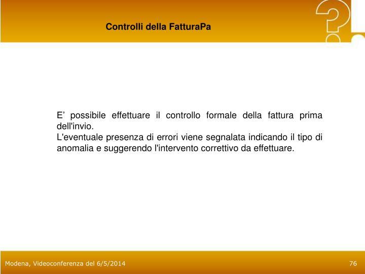 Controlli della FatturaPa