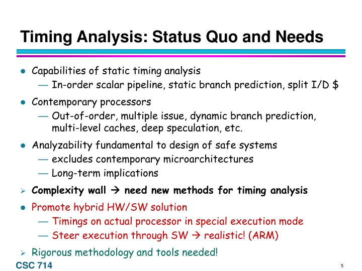 Timing Analysis: Status Quo and Needs