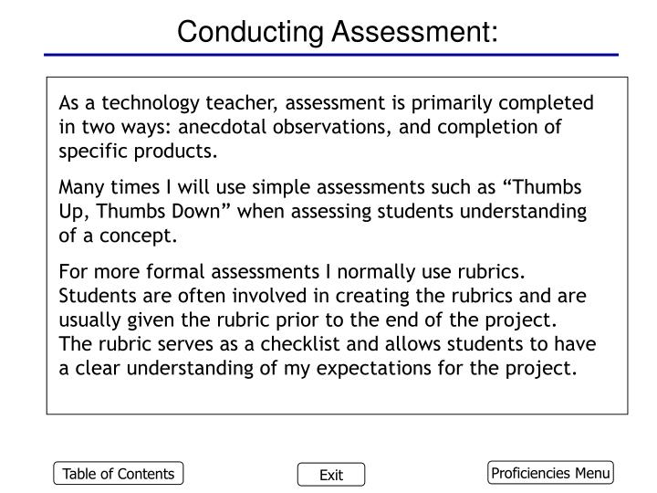 Conducting Assessment: