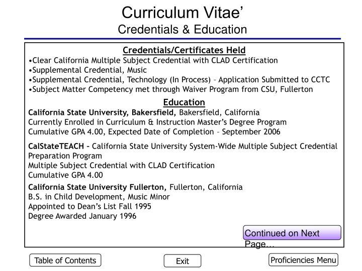 Curriculum Vitae'