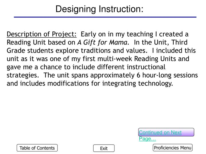 Designing Instruction: