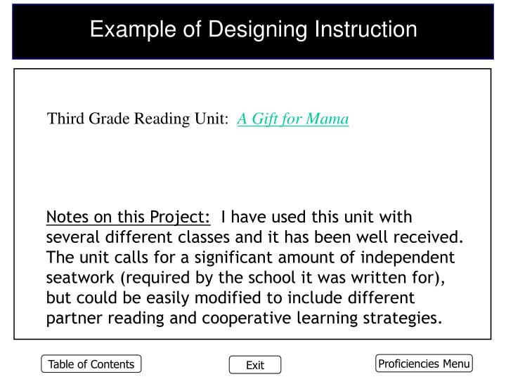 Example of Designing Instruction