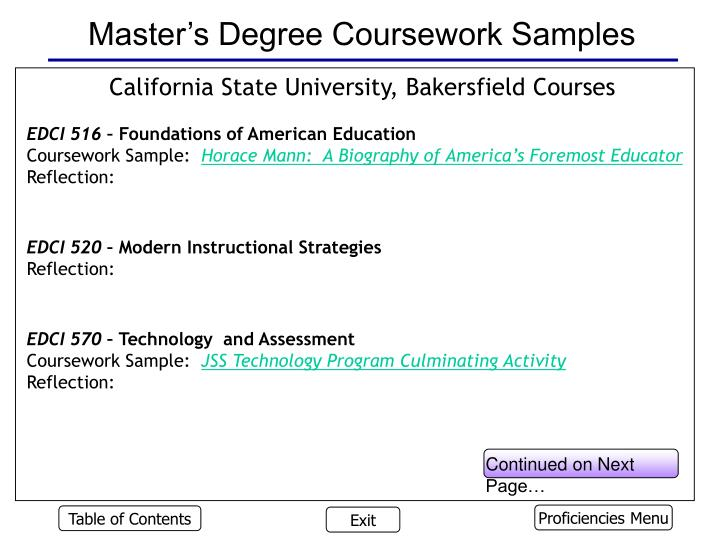 Master's Degree Coursework Samples