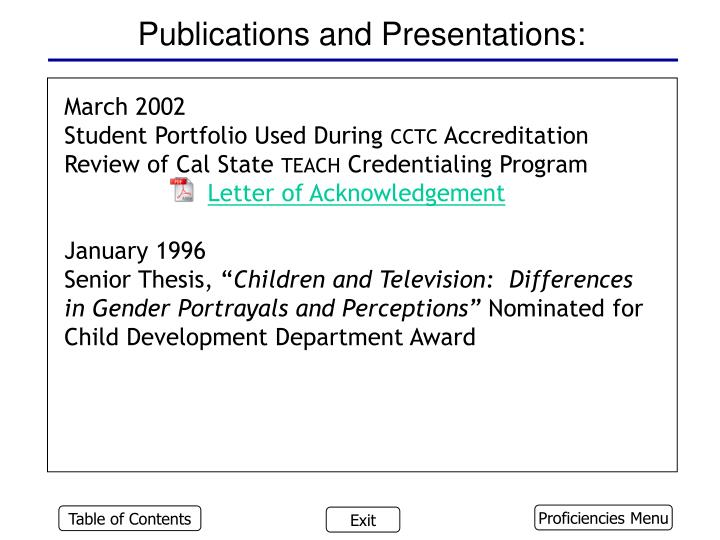 Publications and Presentations: